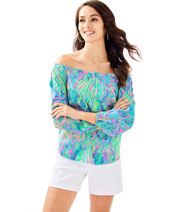 Adira Silk Off The Shoulder Top, Pink Sunset Coco Breeze, large