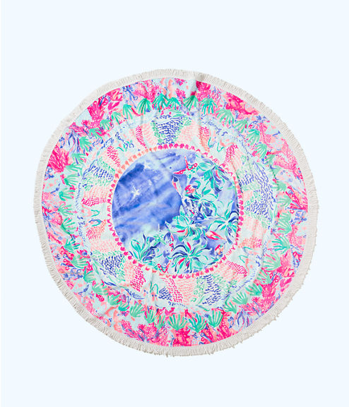 Circa Round Beach Towel, Bennet Blue Celestial Seas Engineered Towel, large