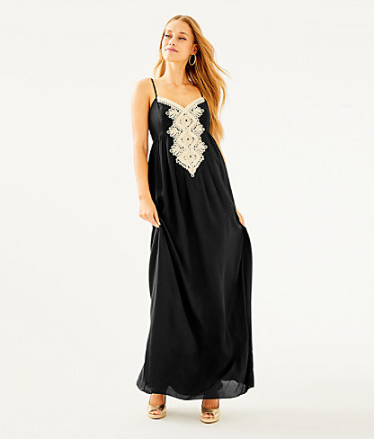 Kelsea Silk Maxi Dress, Onyx, large