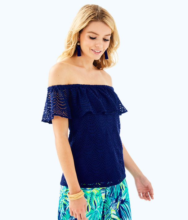 La Fortuna Lace Off The Shoulder Top, True Navy Scalloped Shell Lace, large