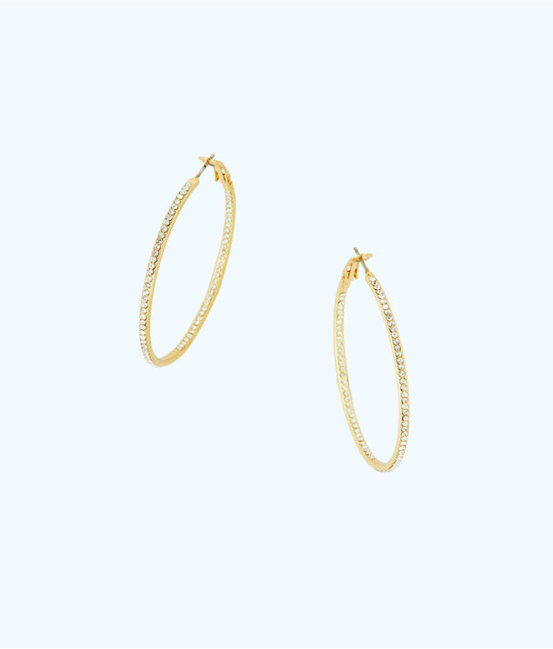 Stardust Hoop Earrings, Gold Metallic, large