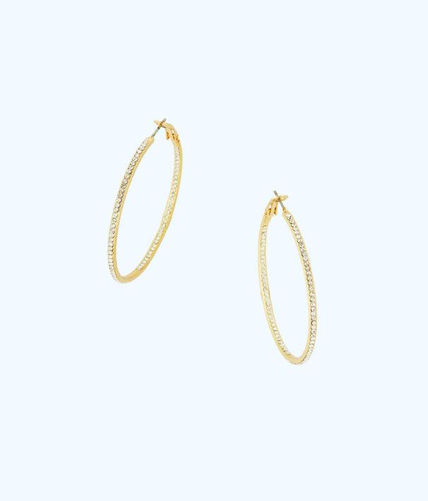 Stardust Hoop Earrings, Gold Metallic, large