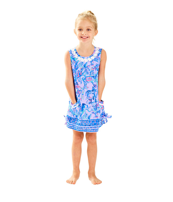 Girls Little Lilly Classic Shift Dress, Lilac Verbena Fruity Monkey Print Kids, large