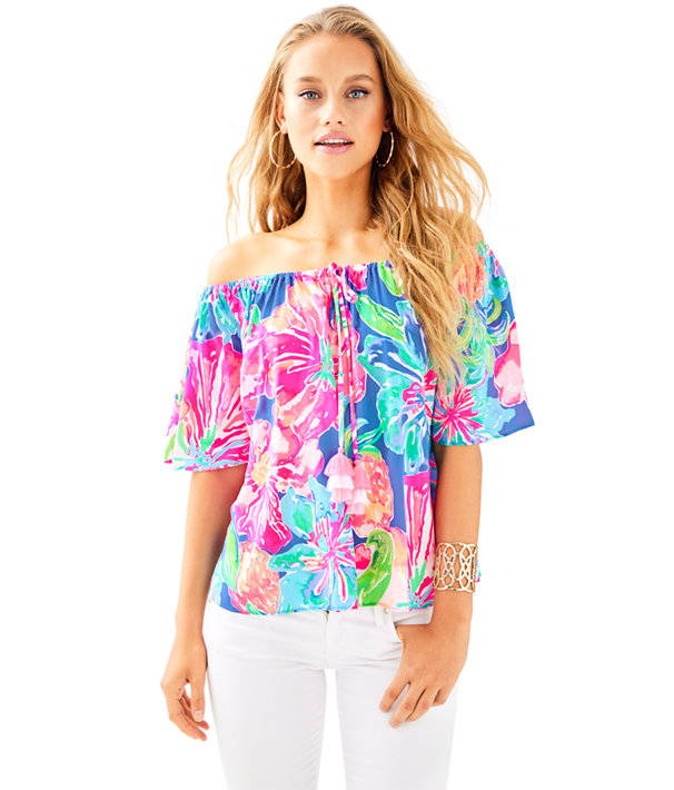 Sain Off The Shoulder Top, Beckon Blue Jungle Utopia, large