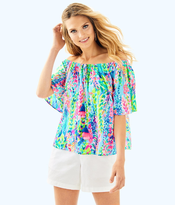 Sain Off The Shoulder Top, Multi Catch The Wave, large