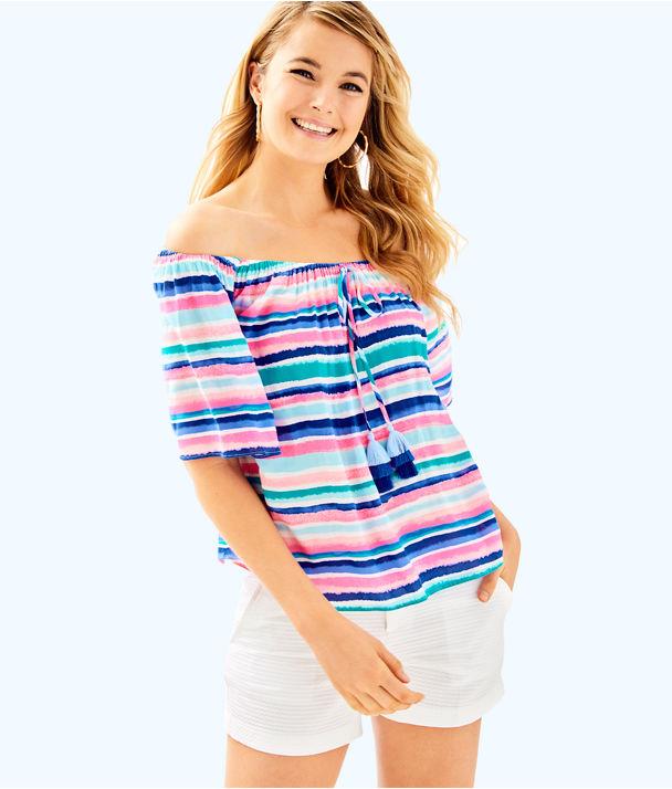 Sain Off The Shoulder Top, Multi Sandy Shell Stripe, large