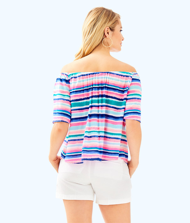 Sain Off The Shoulder Top, Multi Sandy Shell Stripe, large