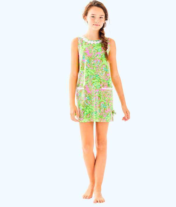 Girls Little Lilly Classic Shift Dress, Pelican Pink Pop Up Chimply Chic, large