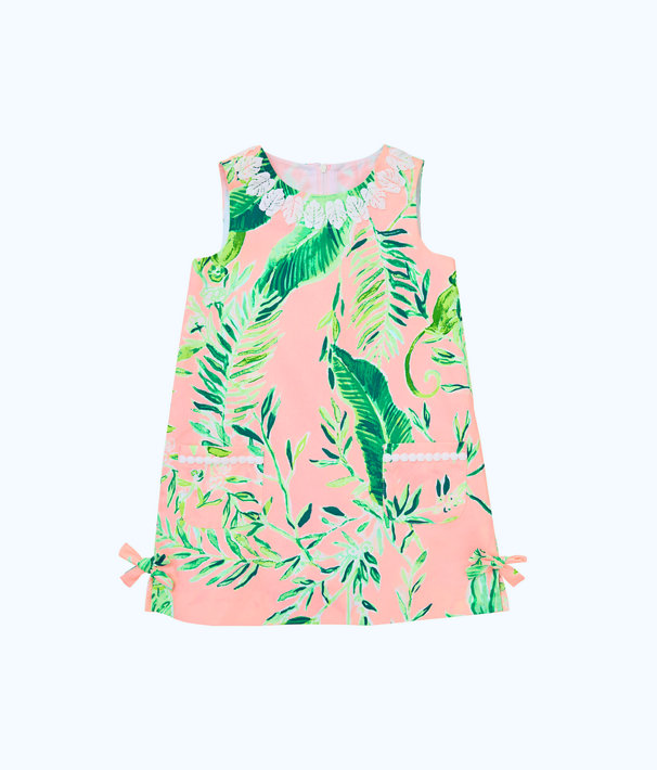 Girls Little Lilly Classic Shift Dress, Coral Reef Tint Chimpoiserie, large