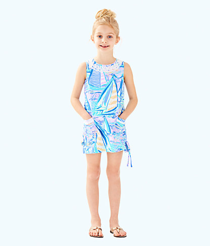 Girls Little Lilly Classic Shift Dress, Light Lilac Verbena Aboat Time, large