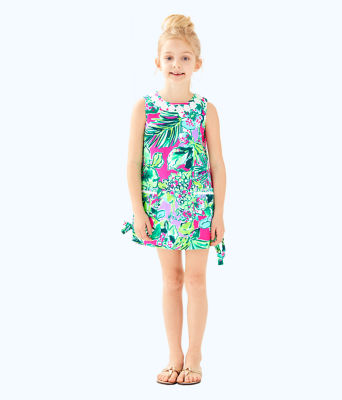 Girls Little Lilly Classic Shift Dress, Multi Early Bloomer, large