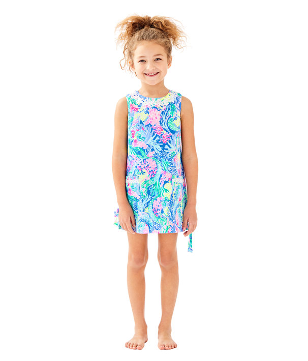 Girls Little Lilly Classic Shift Dress, Multi Mermaids Cove, large