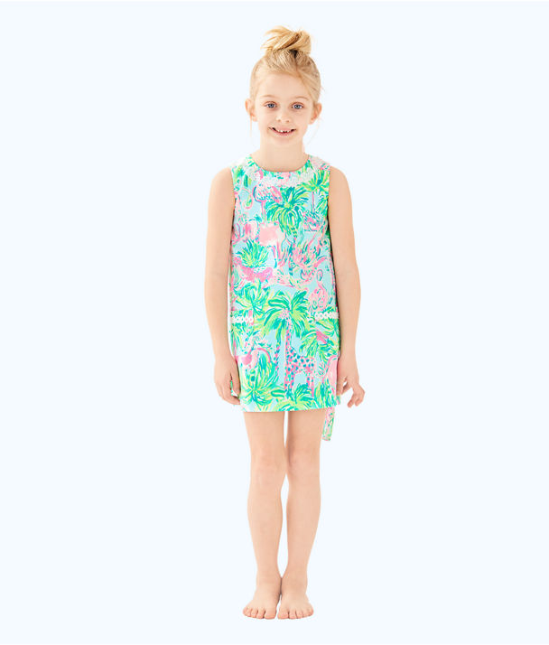 Girls Little Lilly Classic Shift Dress, Seasalt Blue On Parade, large
