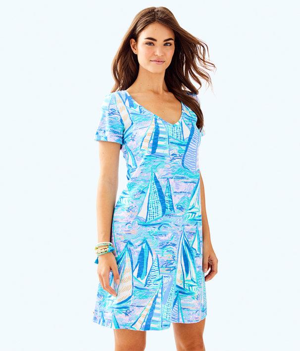 Jessica Short Sleeve Dress, Light Lilac Verbena Aboat Time, large