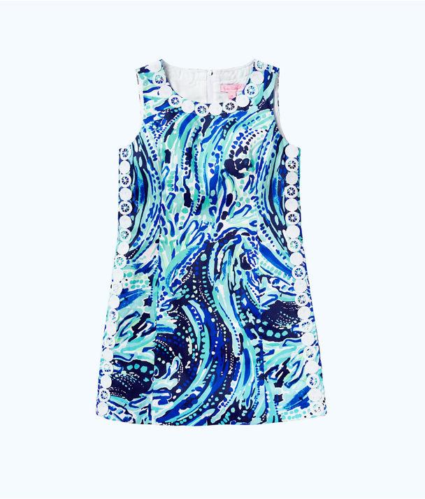 Girls Mini Mila Shift Dress, Bright Navy Crash The Bash, large
