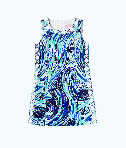 Girls Mini Mila Shift Dress, Bright Navy Crash The Bash, large