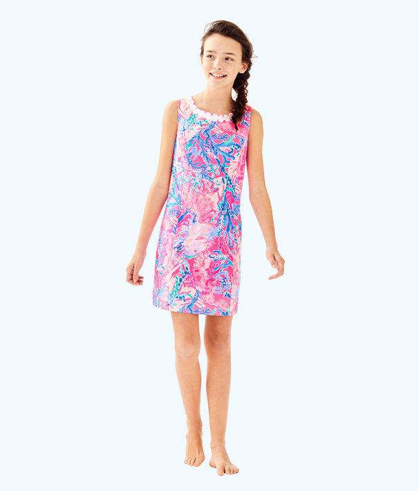 Girls Mini Mila Shift Dress, Light Pascha Pink Aquadesiac, large