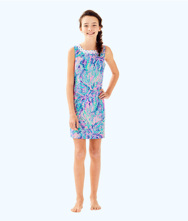 Girls Mini Mila Shift Dress, Pink Sunset Coco Breeze, large