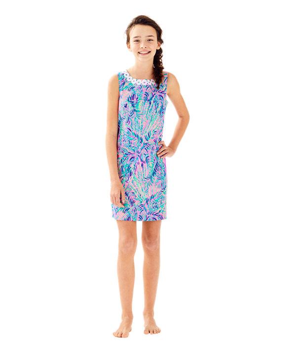 Girls Mini Mila Shift Dress, Pink Sunset Coco Breeze, large
