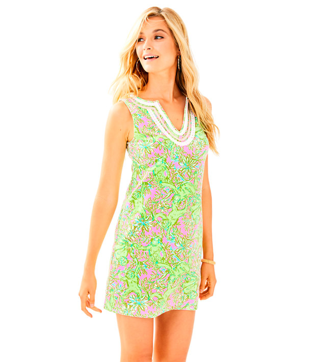 Harper Shift Dress, Pelican Pink Pop Up Chimply Chic, large