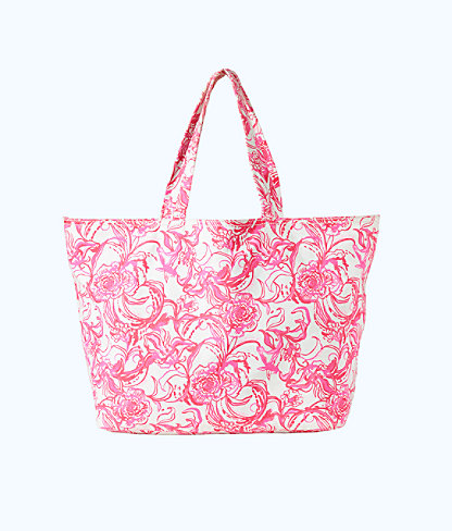 goop x Lilly Pulitzer Palm Beach Tote, Cameo White Kiss Kiss For Goop X Lilly Pulitzer Ac, large