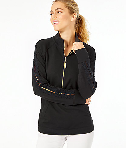 Skipper Solid Popover - Lace Sleeve, Onyx, large
