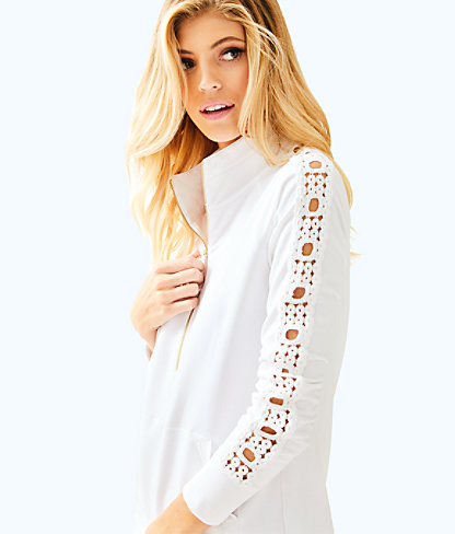 Skipper Solid Popover - Lace Sleeve, Resort White, large