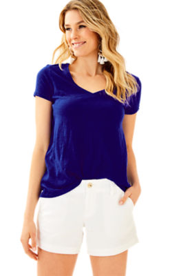 Etta V-Neck Top, Twilight Blue, large