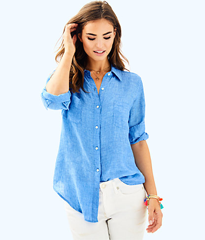 Sea View Button-Down Top, Beckon Blue, large