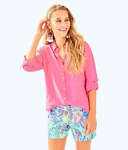 Sea View Button-Down Top, Coastal Coral, large