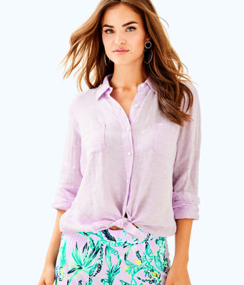 Sea View Button Down Top, Pearly Purple, large