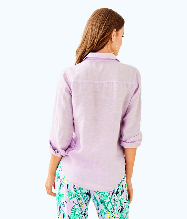Sea View Button-Down Top, Pearly Purple, large