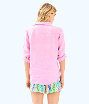 Sea View Button Down Top, Pink Sunset, large 1