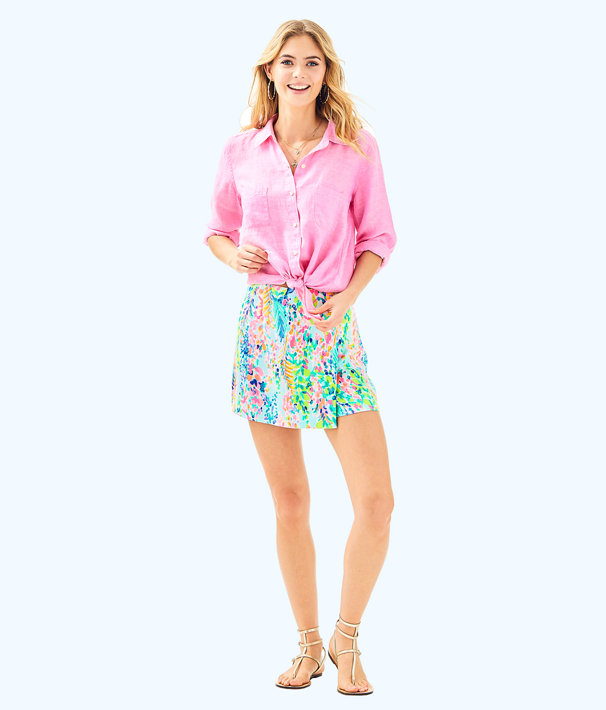 Sea View Button-Down Top, Pink Sunset, large