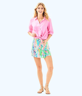 Sea View Button-Down Top, Pink Sunset, large 2