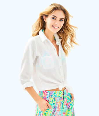 Sea View Button-Down Top, Resort White, large