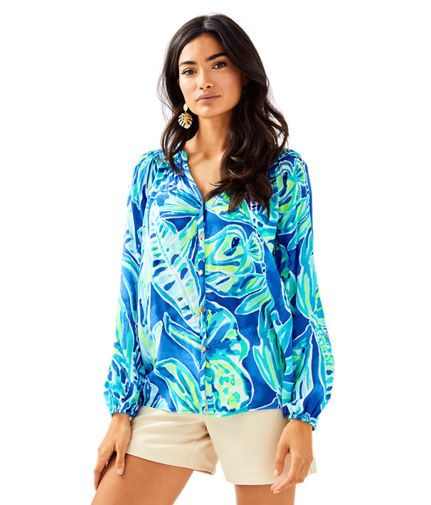 Button Front Elsa Top, Beckon Blue Palm Passage, large