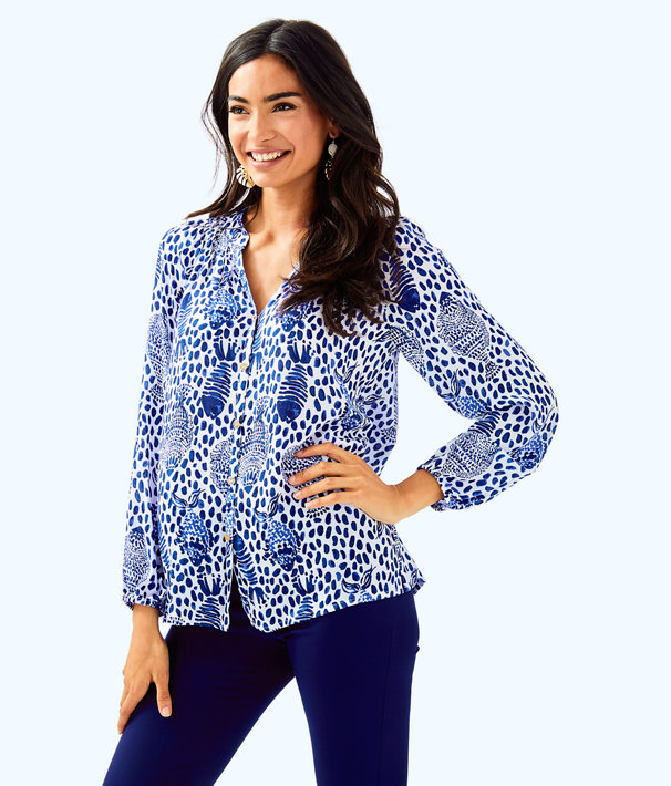 Button Front Elsa Top, High Tide Navy Heart And Sole, large