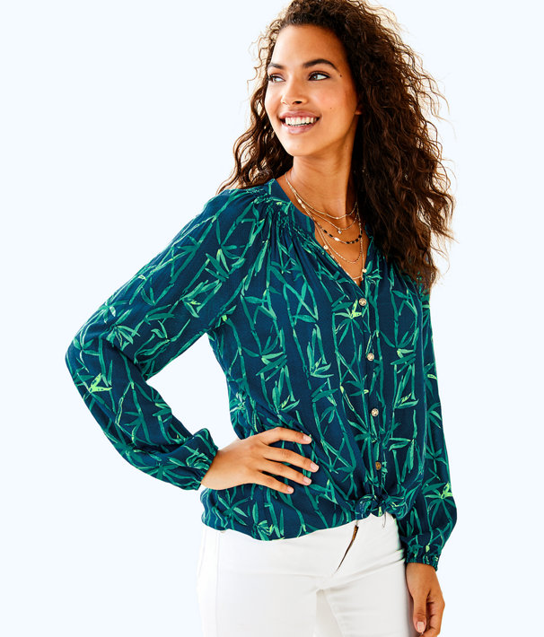 Button Front Elsa Top, Inky Navy Bamboo Bash, large