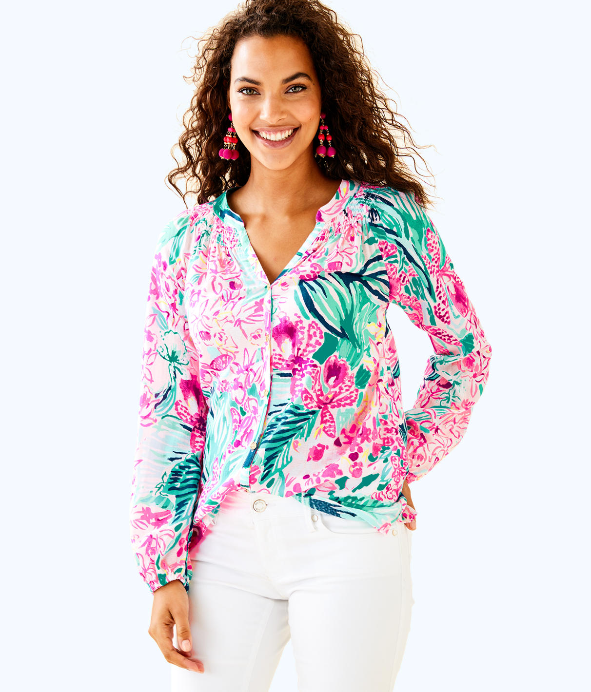 Lilly Pulitzer Lilly Pulitzer Womens Button Front Elsa Top