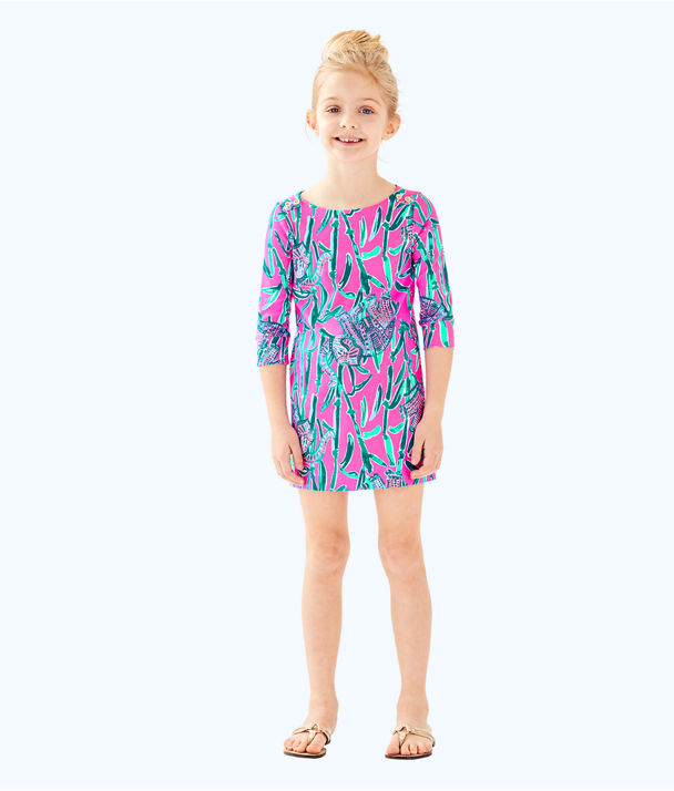 UPF 50+ Girls Mini Sophie Dress, Mandevilla Pink Extra Lucky, large