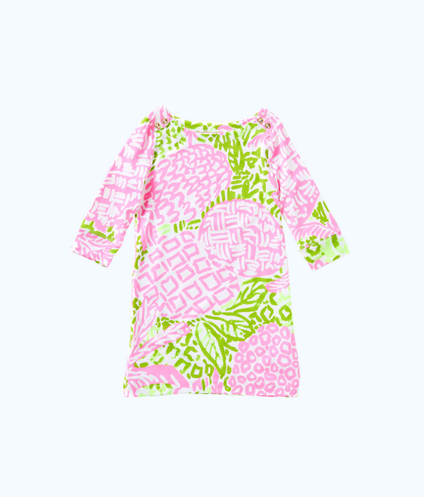 UPF 50+ Girls Mini Sophie Dress, Pink Sunset Home Slice, large