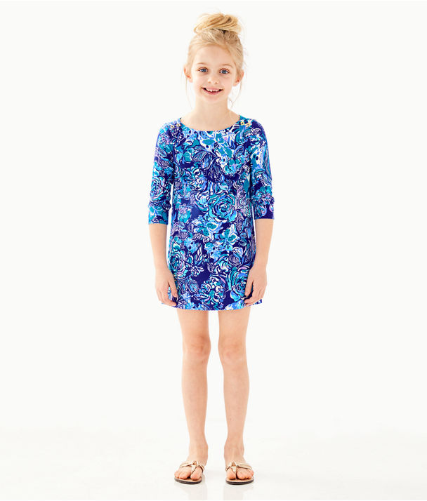 UPF 50+ Girls Mini Sophie Dress, Royal Purple Cat Call, large