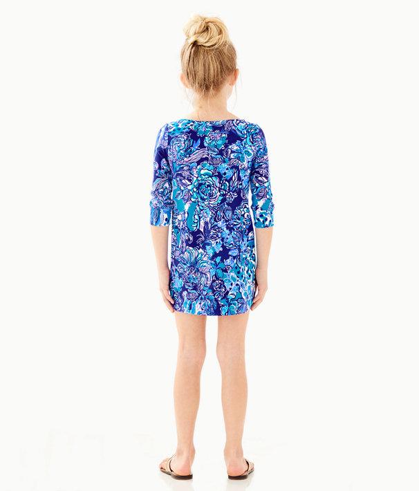 UPF 50+ Girls Mini Sophie Dress, Royal Purple Cat Call, large