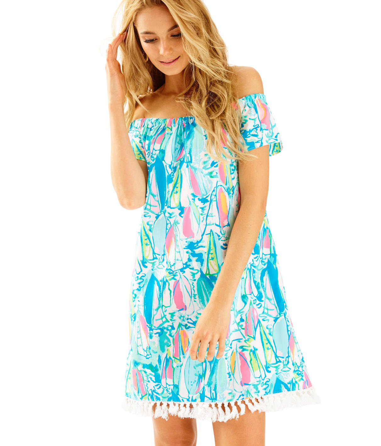 Lilly Pulitzer Marble Off The Shoulder Dress - Sunglow