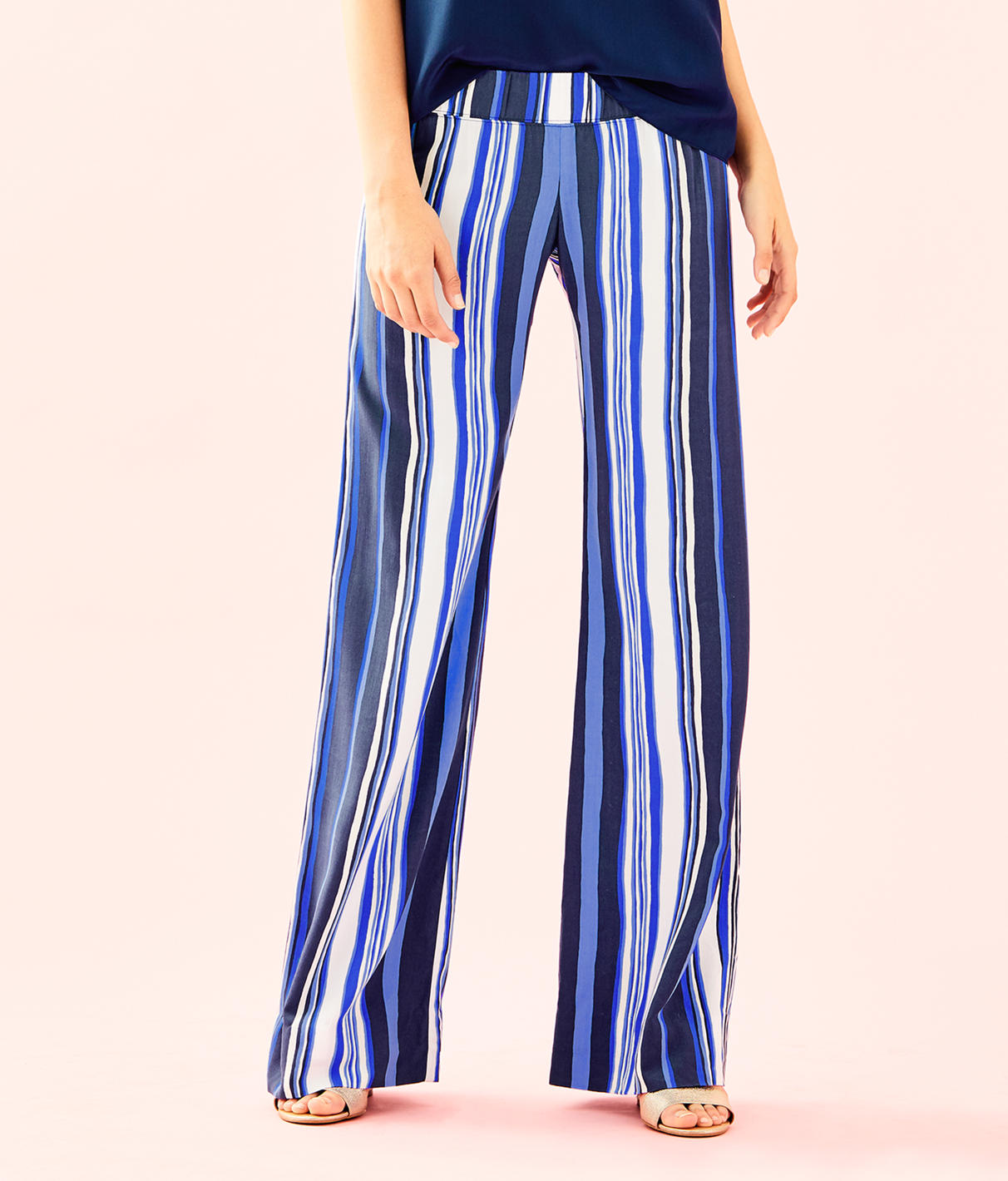"""LILLY PULITZER 33"""" Bal Harbour Palazzo Pant in Bright Navy Jungley Stripe Vertical"""