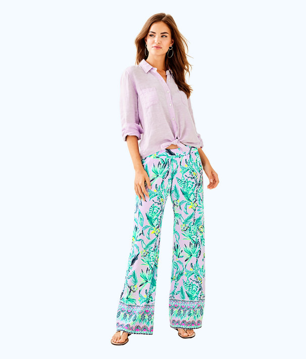 "33"" Bal Harbour Palazzo Pant, Light Lilac Verbena Its Impawsible Engineered Pant, large"