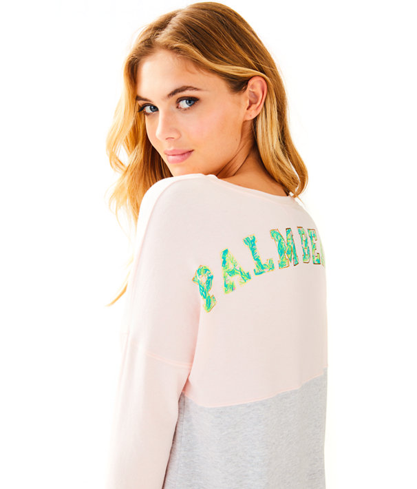 Finn Long Sleeved Tee, Paradise Pink Print Filled Palm Beach Graphic, large