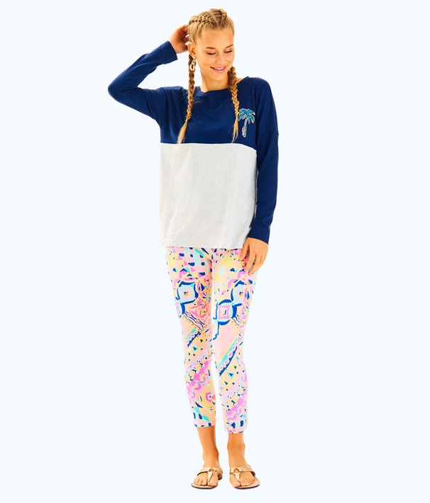 Finn Long Sleeved Tee, True Navy Print Filled Palm Beach Graphic, large