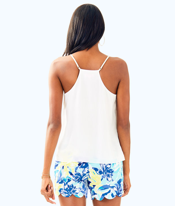 Dusk Racer Back Silk Tank Top, Resort White, large